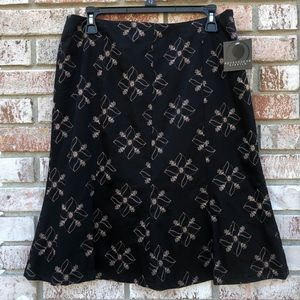 Apostrophe Fluted Black Gold Floral Skirt